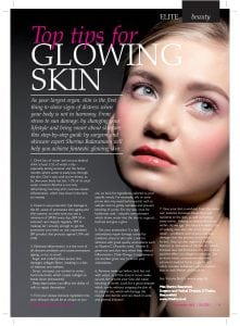 Elite Magazine: Top Tips for glowing skin
