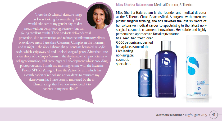 Aesthetic Medicine magazine features skincare advice from Miss Sherina Balaratnam