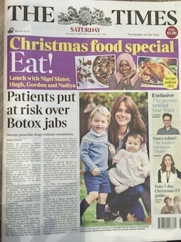 S-Thetics The Times newspaper patients at risk over Botox jabs headline