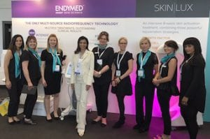 Miss Sherina Balaratnam with  the Aestheticare UK Endymed 3DEEP team at FACE 2017