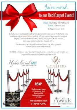 Introducing the HydraFacial™ at S-Thetics – you are invited to our Red Carpet launch on Thursday 4th February