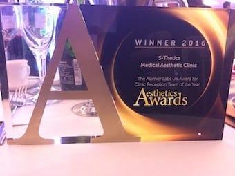 "S-Thetics Clinic wins ""Clinic Reception Team of the Year, UK & Ireland"" at the Aesthetics Awards"